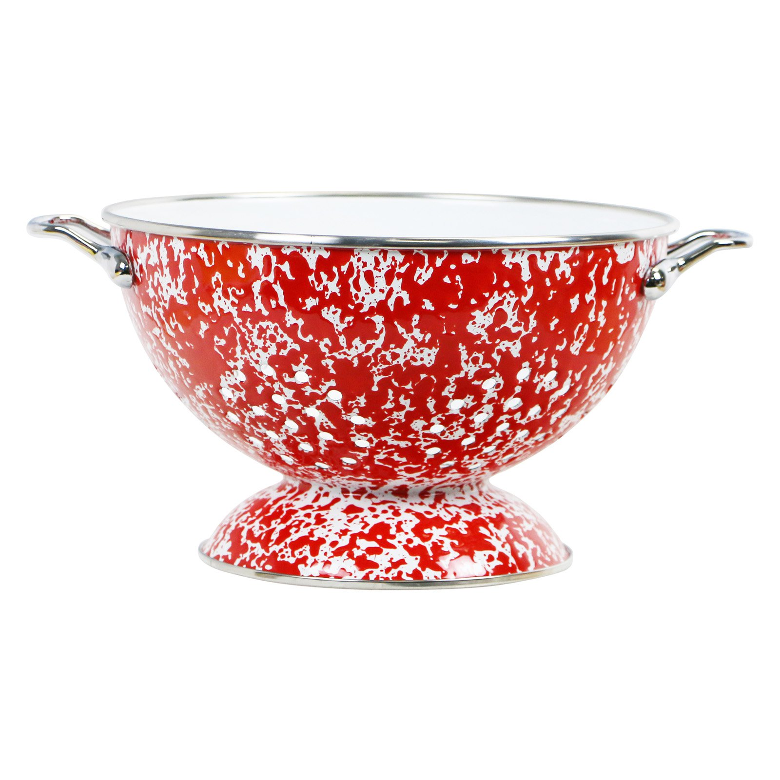 Calypso Basics, Enamel on Steel Marble Effect 3 Qt. Colander, Red Marble