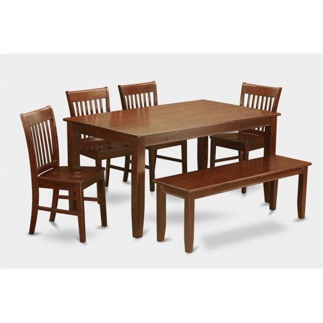East West Furniture DUNO6D-MAH-W 6PC Set Rectangular Table and 4 Wood Seat Slat Back Chairs and 52-in Long Bench