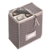 Quilted Microfiber Champagne Flute Storage Chest, Grey
