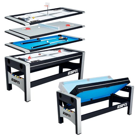 ESPN 72 Inch 4-in-1 Swivel Combo Game Table, 4 Games with Hockey, Billiards, Table Tennis and Finger Shoot
