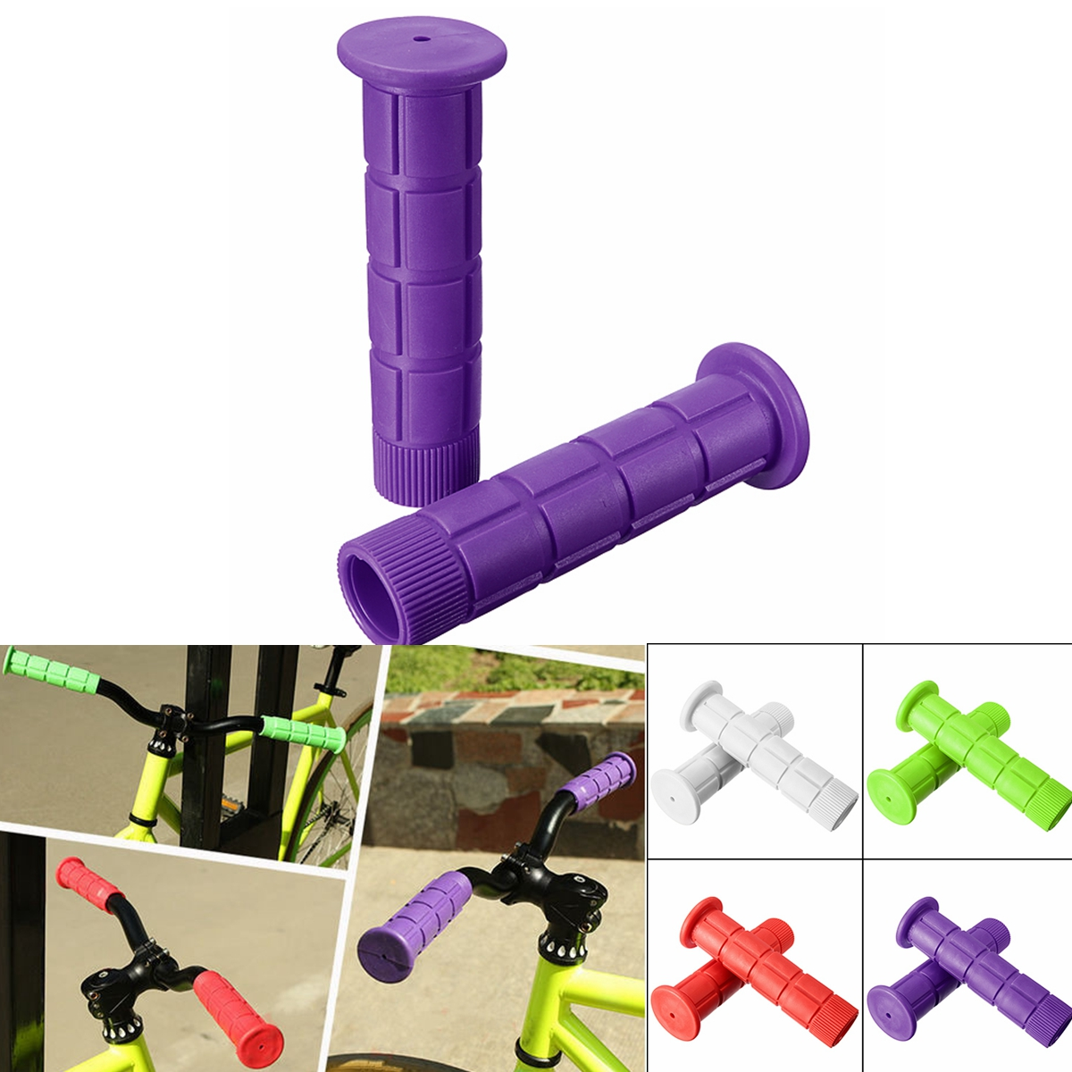 One Pair Cycling Mountain Bicycle Dirt Bike Skid-proof Soft Nonslip Handlebar Rubber Handlebar Grip Cover Colors:White/Purple/Red/Green