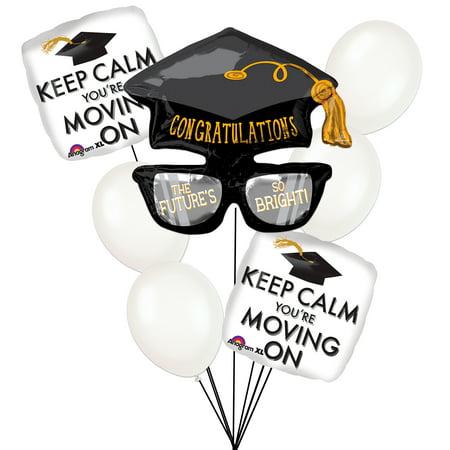 Keep Calm Congrats Grad Graduation Cap Glasses 8pc Balloon Bouquet Pack](Champagne Glass Balloon)