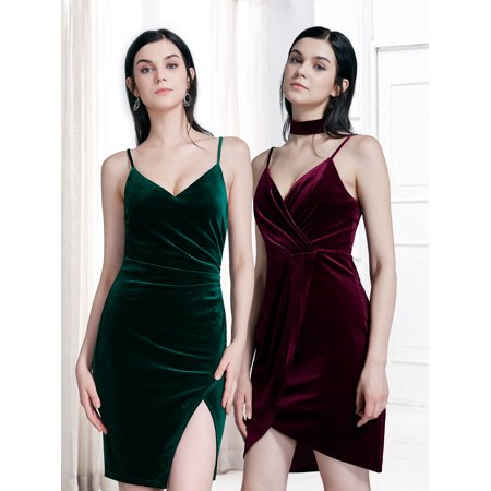 Ever-Pretty Women's Deep V-Neck Velvet Short Cocktail Night Clubwear Party Sheath Dresses for Women 04098 US 4