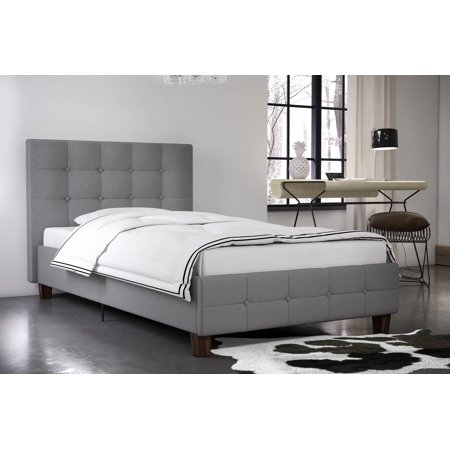 DHP Rose Upholstered Bed, Gray Linen, Twin, Multiple Colors and Sizes Available ()