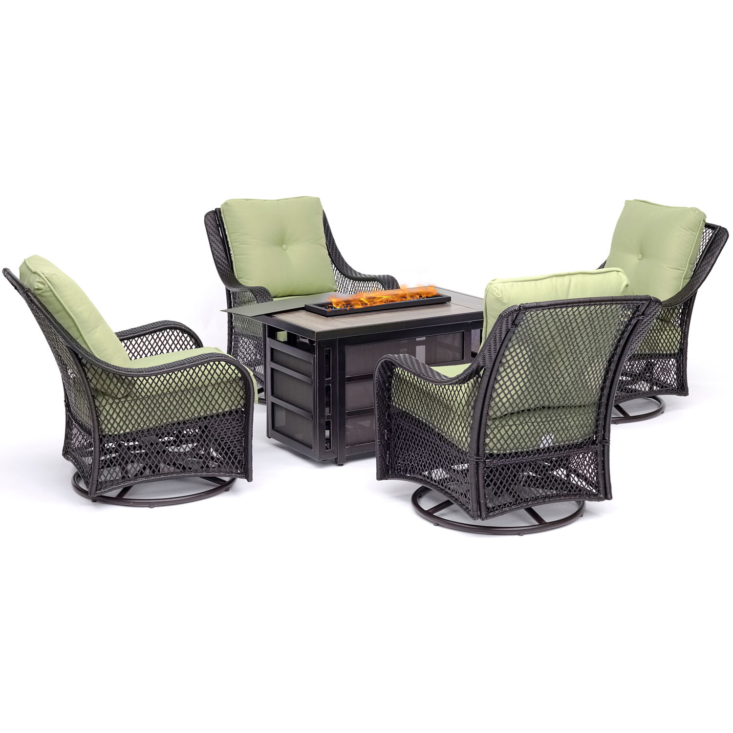 Hanover Orleans 5-Piece Firepit Chat Set with a 30,000 BTU Firepit Table and 4 Woven Swivel Gliders in Avocado... by Hanover