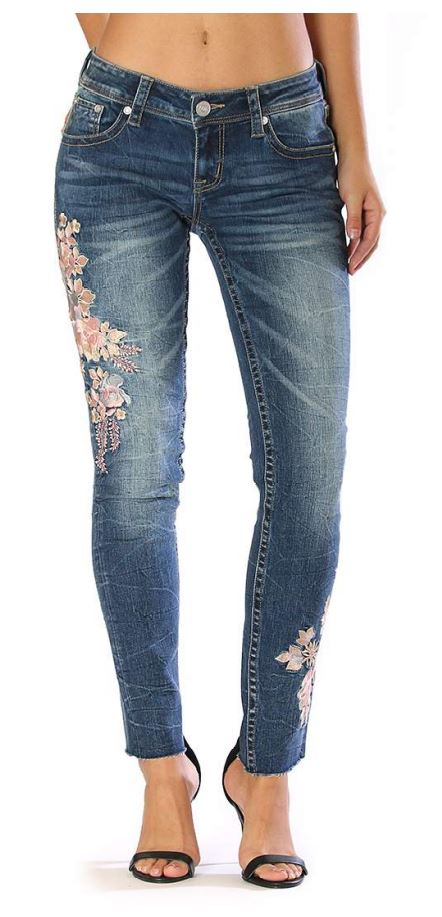 Grace in LA Women/'s Floral Embroidered Skinny Fit Stretch Jeans