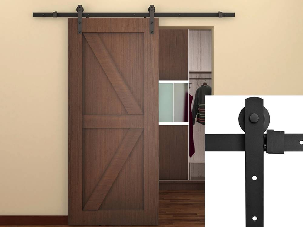 TMS 6FT Antique Style Country Sliding Barn Door Hardware Kit Frosted Black  Steel
