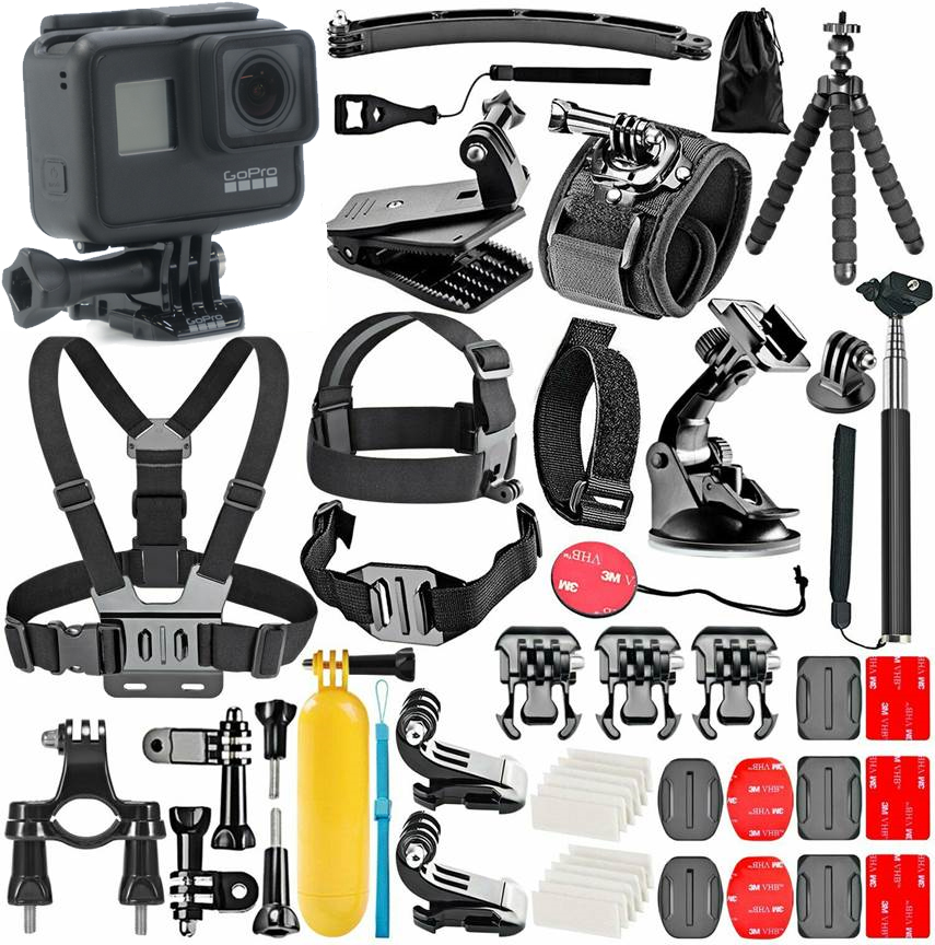 Gopro Hero 7 Black With 50 Piece Action Accessory Kit Straps Harnesses Mounts Adapters In One Bundle Walmart Com Walmart Com