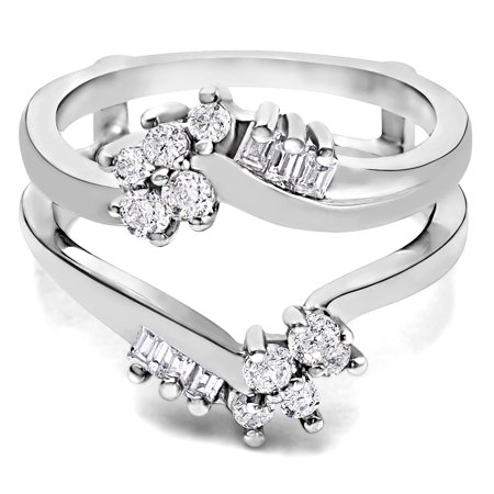 Cubic Zirconia Mounted In Sterling Silver Bypass Style Ring Guard with Round and Baguette Stones (0.47ctw)