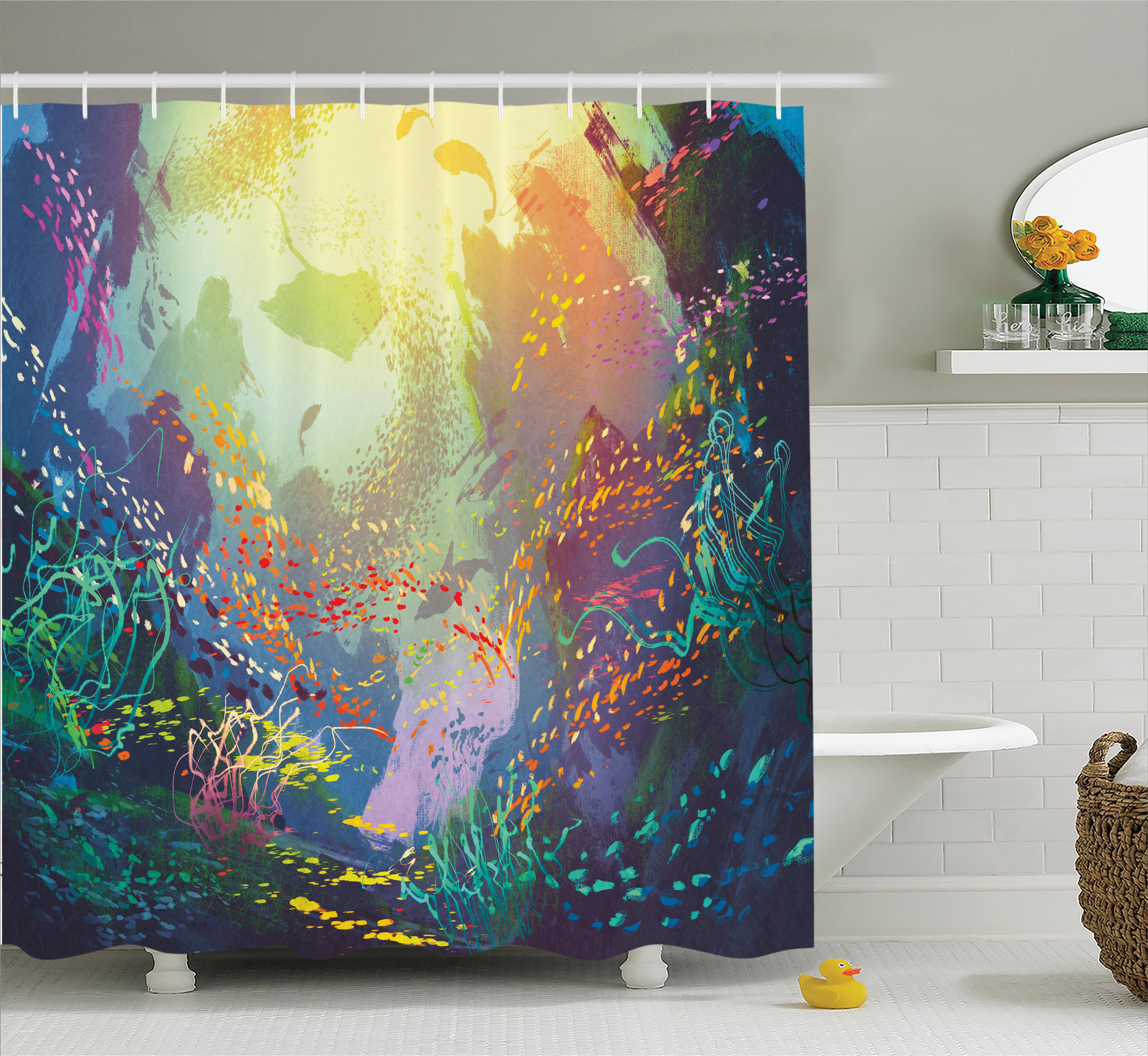 Underwater Fish Shower Curtain Set, Underwater with Coral Reef and Colorful Fish Aquarium Artistic Home Art, Bathroom Decor, Turquoise Yellow Pink, by Ambesonne