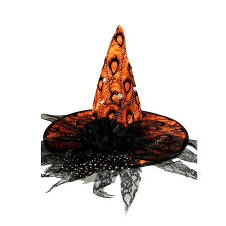 Flower Hats For Halloween (Orange Satin Peacock Halloween Witch Hat Lace and Flower)