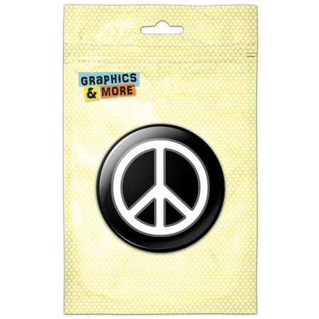 Round Safety Pinback Button (Rounded Peace Sign Symbol Black Pinback Button Pin)