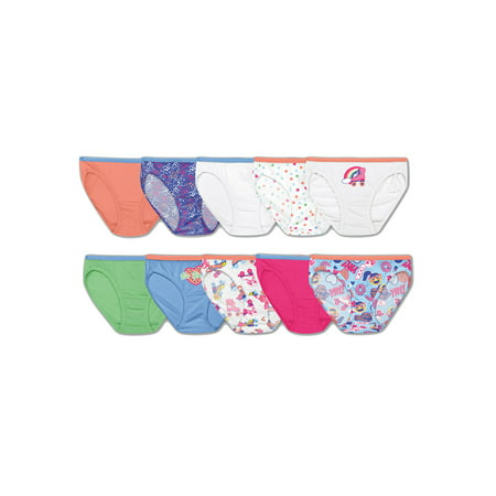 Hanes Girls' Cotton Bikini Underwear, 9+1 Bonus Pack Panties (Little Girls & Big Girls) (Sissyboy Panties)