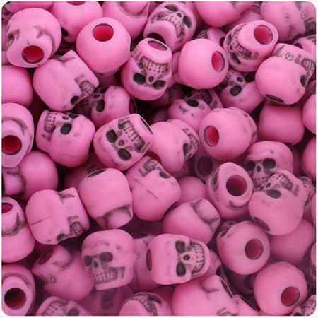 BeadTin Dark Pink Antique 11mm Skull Pony Beads (150pcs)](Skull Beads Wholesale)