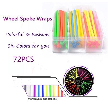 72PCS Universal Motorcycle Dirt Bike Spoke Skins Covers 17cm Long Multicolor Wraps Wheel Rim Guard Protector with Towel