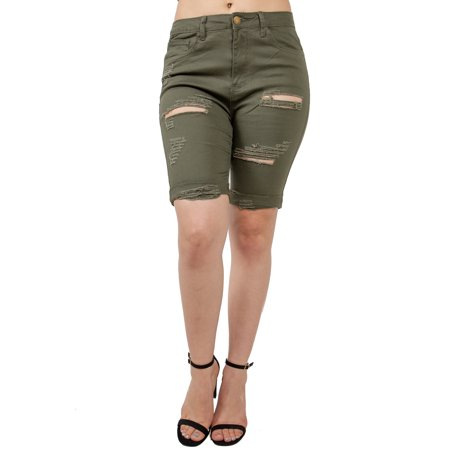 Love Life Short (Love Moda Women's Slim Fit Distressed Twill Bermuda Shorts)