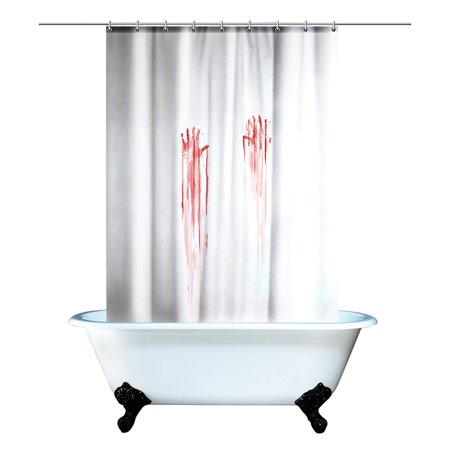 Blood Bath Shower Curtain, Shower curtain features bloody hand prints By Spinning Hat ()