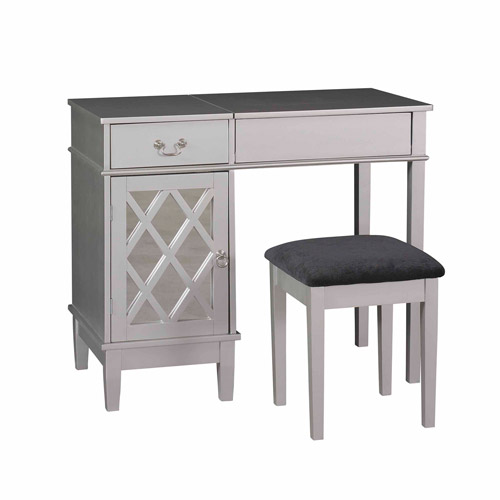 Linon Lattice Bedroom Vanity Set including Stool and Flip top Mirror, Silver