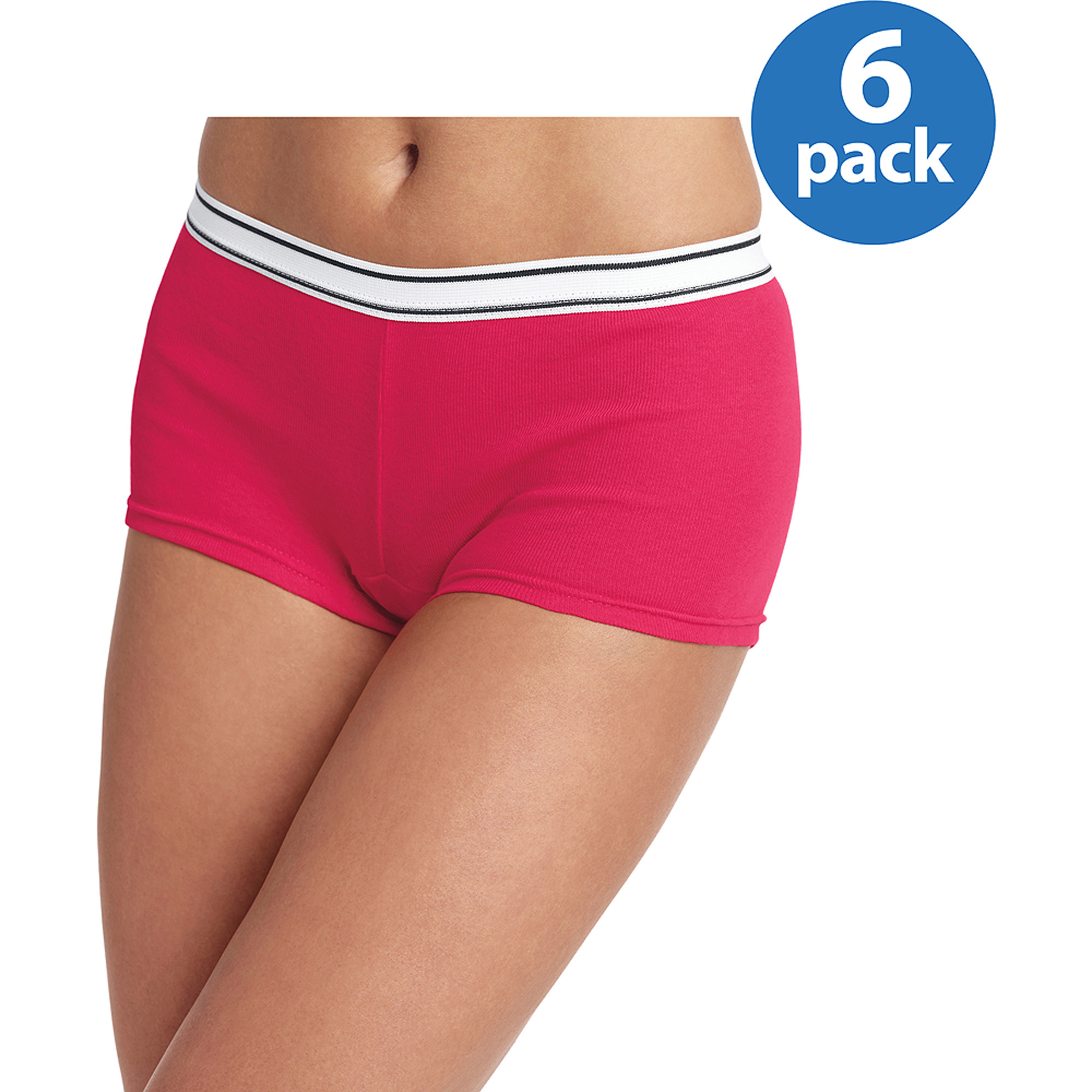 Hanes Women's Cotton Sporty Boyshort Panties, 6-Pack