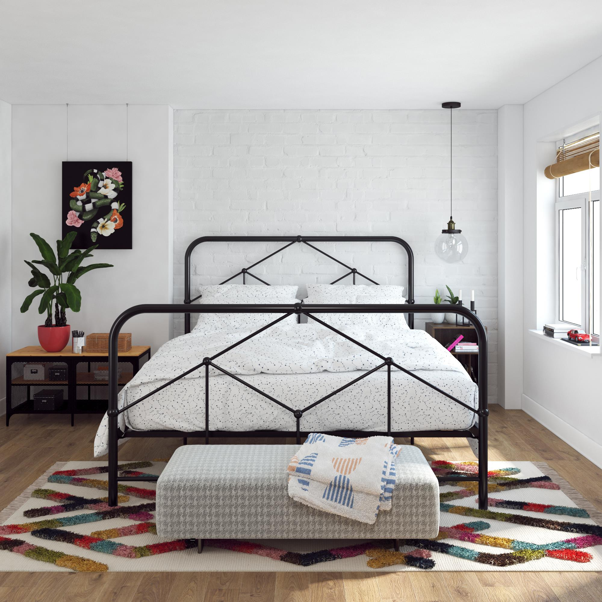 Novogratz Francis Farmhouse Metal Bed Full Bed Frame Black Walmart Com Walmart Com