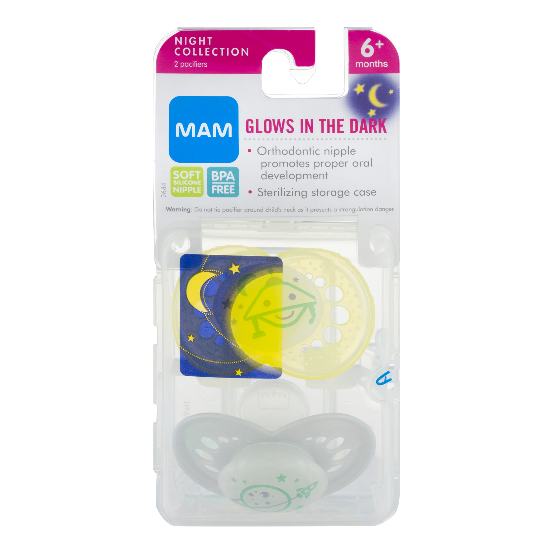 MAM Glow in the Dark Night Orthodontic Pacifier, COLORS MAY VARY, 6+ Months, 2-Count