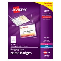 "Avery Name Badges with Lanyards, Print or Write,  3"" x 4"", Badge Holders & Lanyards, 100 Inserts (74459)"