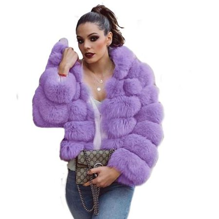 reliable reputation double coupon retail prices Women Oversized Fashion Short Faux Fur Coat Winter Warm Long Sleeve Faux  Fur Coat Jacket w/ Hats