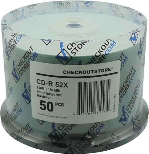 50 CheckOutStore 52x CD-R 80min 700MB ARCHIVAL Hard Coat White Inkjet Hub