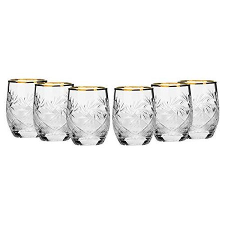 Set of 6 Russian Cut Crystal Shot Glasses 24K Gold Rim 1.7 Oz Vodka - Crystal Vodka