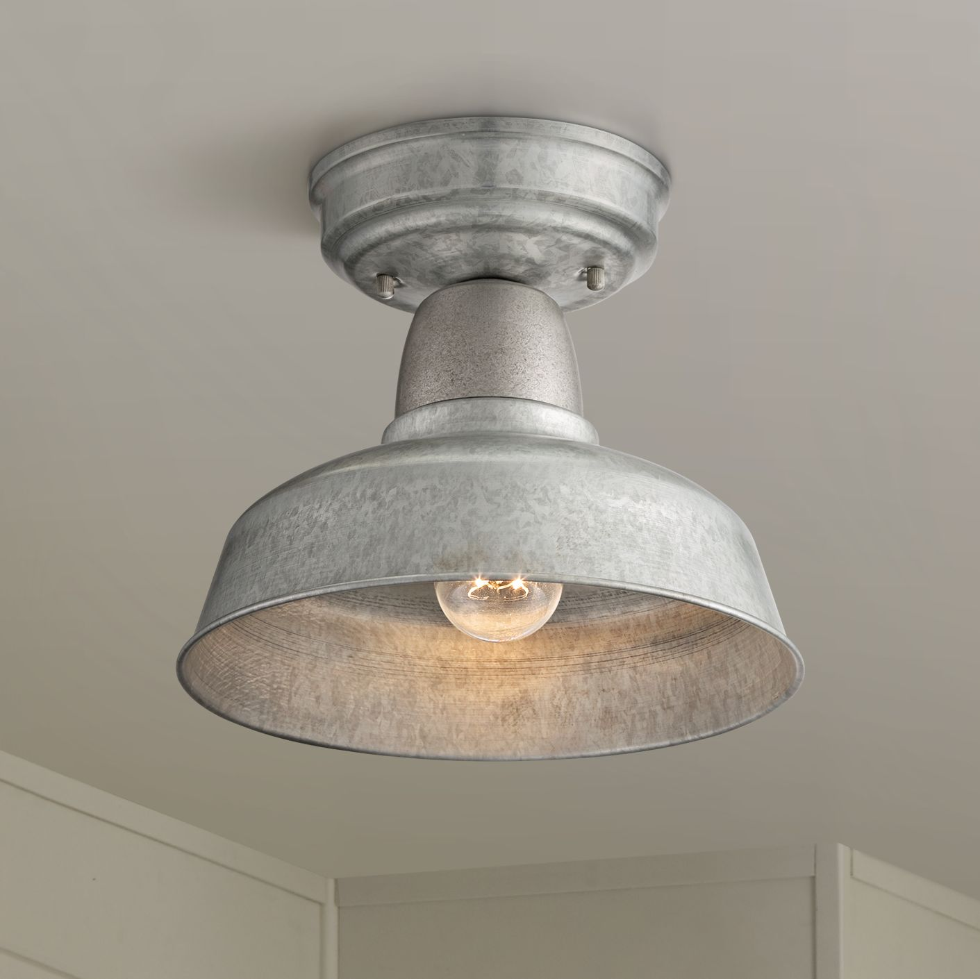 "John Timberland Rustic Outdoor Ceiling Light Fixture Semi Flush Urban Barn Farmhouse Galvanized 10 1/4"" for Porch Kitchen"