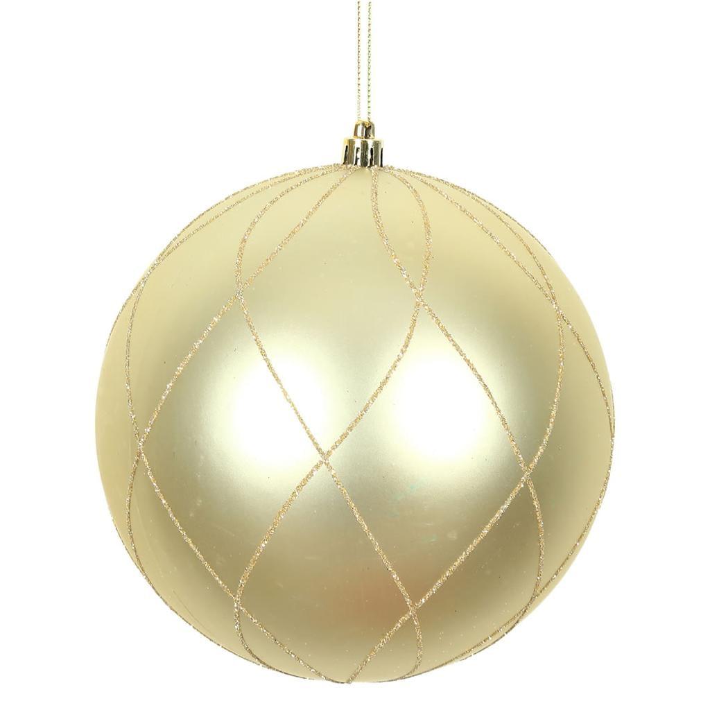 "Vickerman 472057 - 8"" Champagne Matte/Glitter Swirl Ball  Christmas Christmas Tree Ornament (N170838D)"