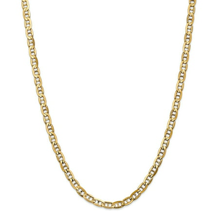 """Solid 14k Yellow Gold Big Heavy 5.25mm Concave Anchor Mariner Chain Necklace 18"""" - with Secure Lobster Lock Clasp"""