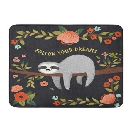 KDAGR Birthday Follow Your Dreams Sloth Cute Baby Tree Cartoon for Happy Doormat Floor Rug Bath Mat 30x18 inch