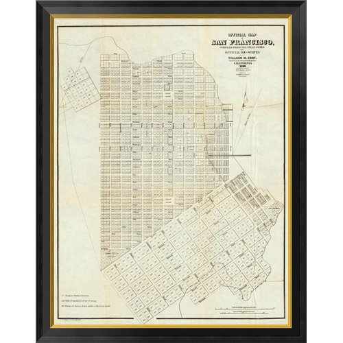 Global Gallery Official Map of San Francisco 1851 by William