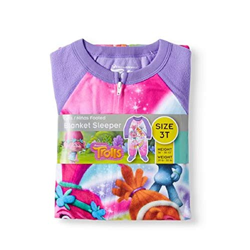 Trolls Toddler Girls Footed Blanket Sleeper Pajamas Dance Forever (3T)