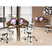 Manhattan Comfort Bradley Floating 2-Piece Cubicle Section Desk with Keyboard Shelf in Rustic Brown