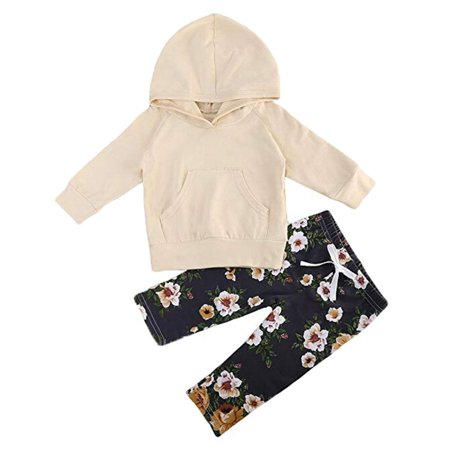 Newborn Baby Girl 2Pcs Clothes Set Long Sleeve Hoodie Sweatshirt Floral Pants Outfit