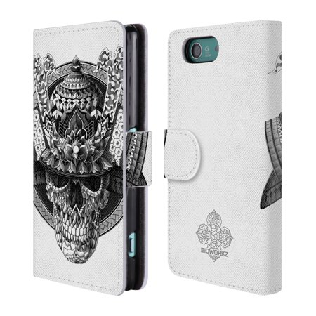 OFFICIAL BIOWORKZ SKULLS LEATHER BOOK WALLET CASE COVER FOR SONY PHONES 2
