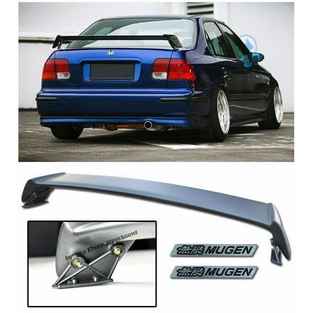 For 96-00 Honda Civic 4Dr Sedan JDM MUGEN Style Rear Trunk Lid Wing Spoiler Lip W/ 2 X Black Mugen Emblems EK 1996 1997 1998 1999 2000 96 97 98 99 00