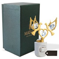 Matashi Crystal 24K Gold Plated Crystal Studded Love Doves Multi-Colored LED Night Light