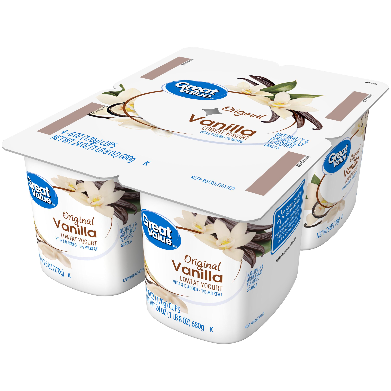Great Value Original Lowfat Yogurt, Vanilla, 6 oz, 4 Count