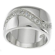 Plutus Partners Sterling Silver Cubic Zirconia Pave Fashion Band