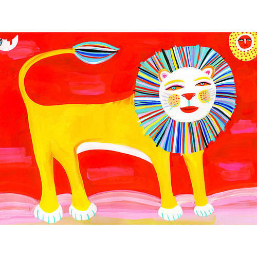 Oopsy Daisy - Big Cat - Lion Canvas Wall Art 24x18, Christopher Corr