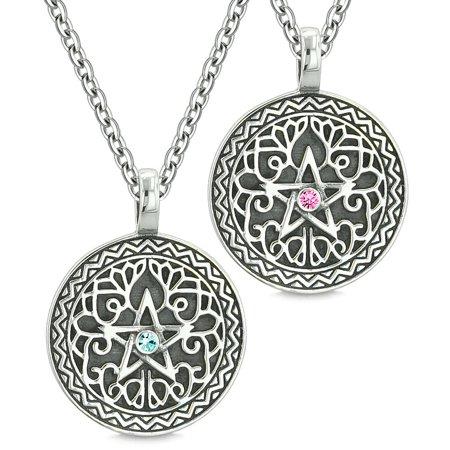 Pentacle Magic Star Celtic Defense Power Amulets Love Couple Best Friends Sky Blue Pink Crystal