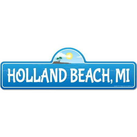 Holland, MI Michigan Beach Street Sign | Indoor/Outdoor | Surfer, Ocean Lover, Décor For Beach House, Garages, Living Rooms, Bedroom | Signmission Personalized Gift - Halloween Holland Mi