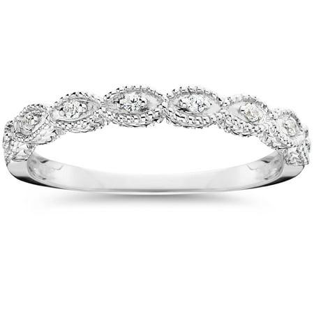 1/10ct Vintage Diamond Wedding Ring 14K White Gold - image 2 of 2