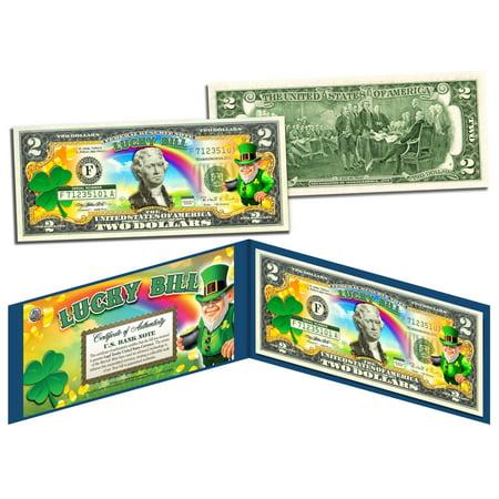 LEPRECHAUN * Four Leaf Clover * Colorized U.S. $2 LUCKY BILL - St Patrick's Day](Four Leave Clover)