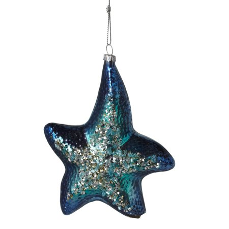 Blue Christmas Holiday Ornaments - Blue Starfish Glass Encrusted Christmas Holiday Ornament 4.75 Inches