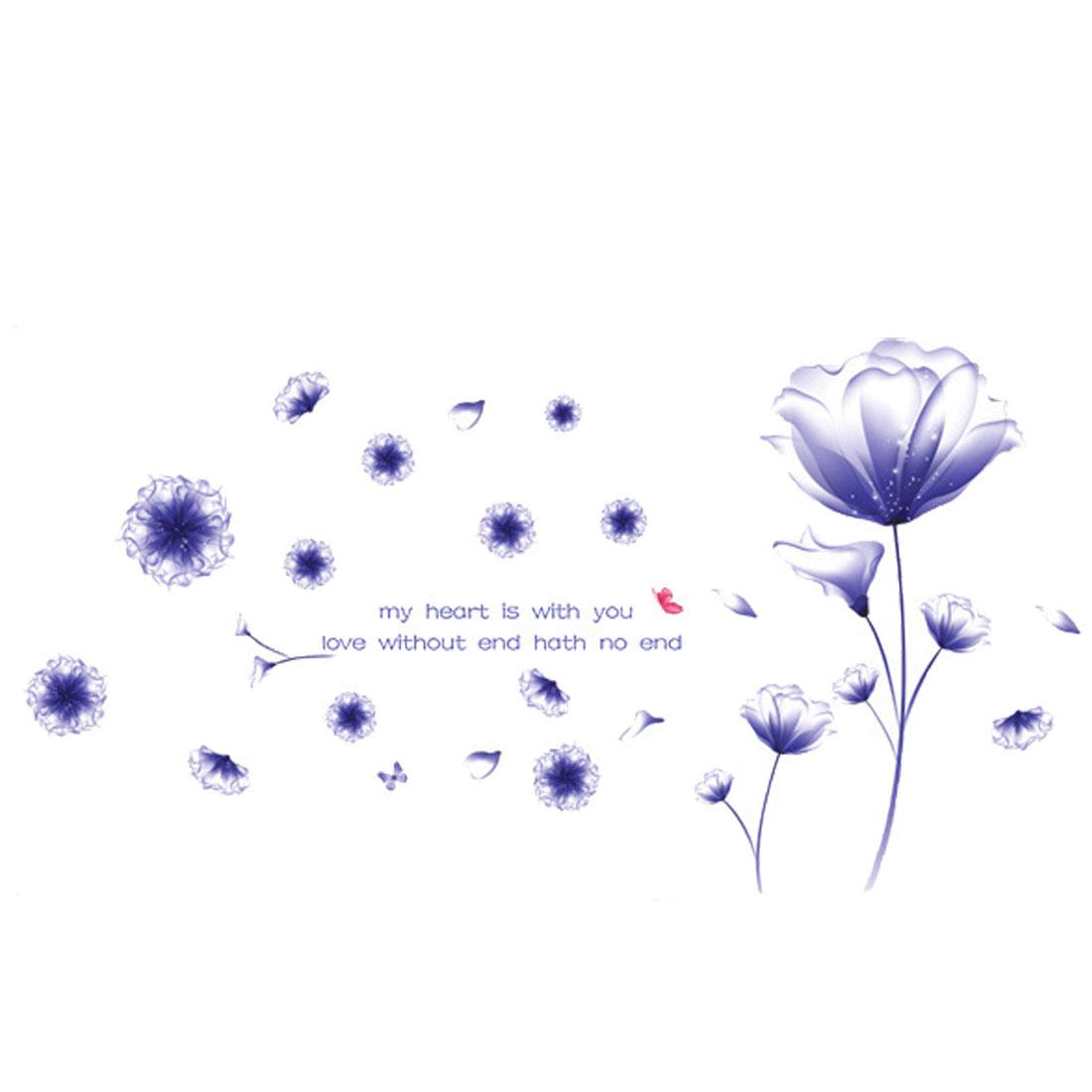 Flower Pattern DIY Home Mural Decal Wall Decor Sticker Purple White