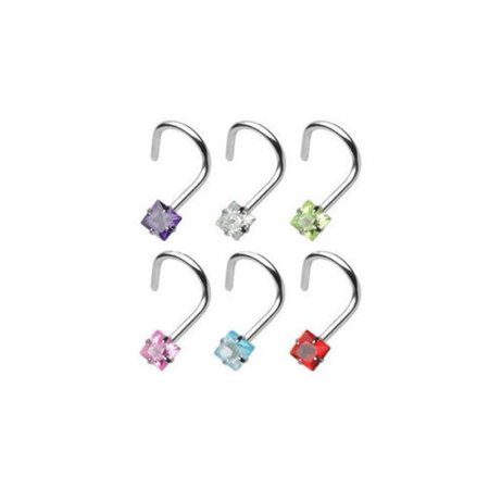 Nose Screw with Prong Set Square Gem